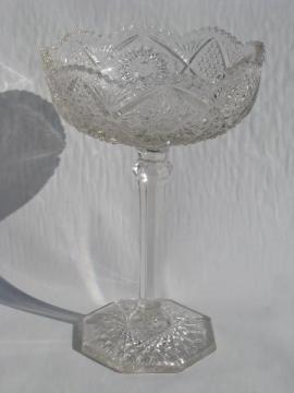 old nu-cut pressed pattern glass, vintage tall stemmed comport bowl