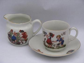 old nursery china cup & saucer etc. antique Germany child's dishes