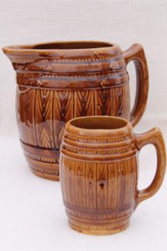 old oak barrel vintage stoneware pottery pitcher & beer stein mug