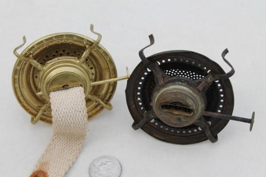 old oil / kerosene lamp parts, burner lamp wick assemblies, vintage oil lamp burners