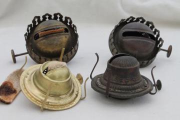 old oil / kerosene lamp parts, burner lamp wick assemblies, vintage oil lamp burners