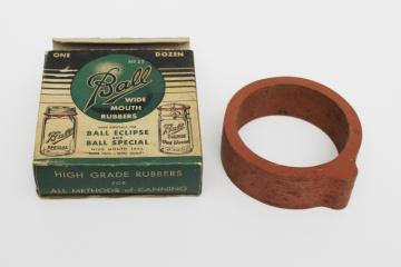 old original box rubber seals for Ball jars, wide mouth Eclipse canning jar rings