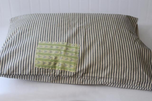 old patched blue ticking stripe pillow cover, authentic vintage farmhouse primitive