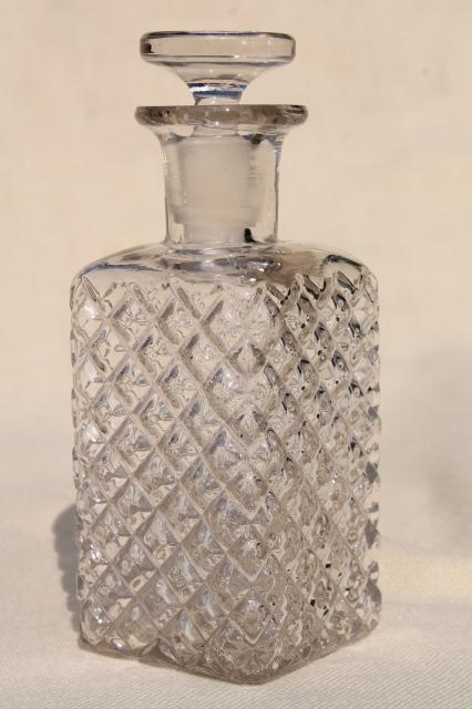 old perfume bottle w/ ground glass stopper, vintage eau de cologne scent bottle for vanity table