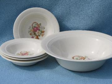 old petit point flower basket china, vintage berry set bowls & big bowl