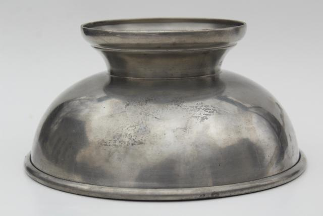 old pewter metal, traditional colonial fruit dish centerpiece bowl, vintage Standish mark