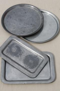 old pewter trays & charger plates, colonial style vintage dishes or serving pieces