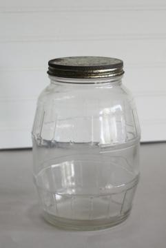 old pickle bottle, two quart barrel shaped jar w/ original vintage lid