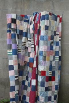 old pieced patchwork blocks quilt tops, vintage cotton prints & shirting fabric