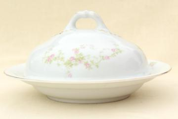 old pink roses Schwarzburg china, round covered butter dish or pancake server