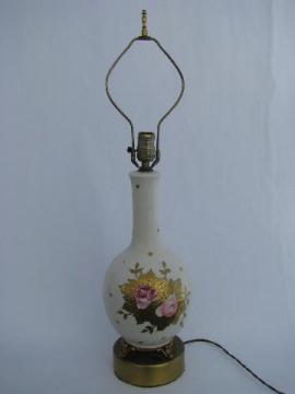 old pink roses china lamp