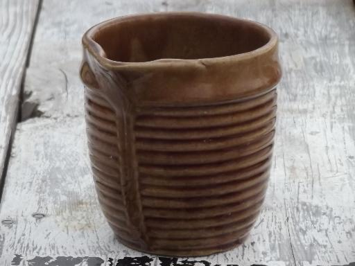 Old Pottery Milk Jug Antique Brown Ribbed Band Stoneware