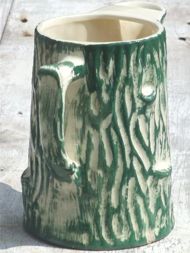 old pottery pitcher, primitive American majolica tree trunk or log shaped jug