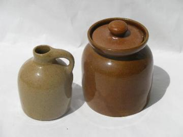 old pottery preserve crock jar, small jug bottle, vintage Bybee pottery