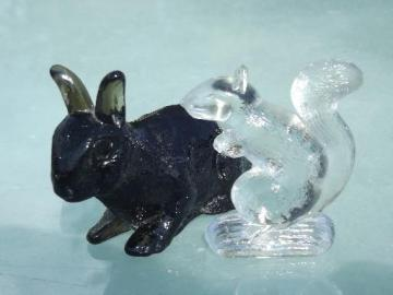 old pressed glass animals, vintage brown rabbit and small squirrel figure