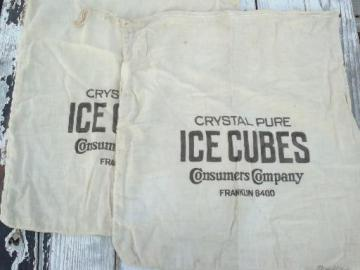 old primitive vintage printed cotton sacks for ice blocks or ice cubes