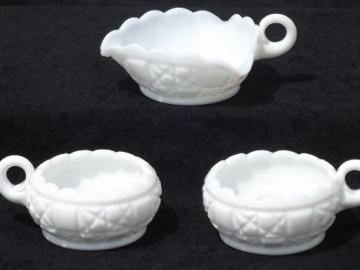 old quilt milk glass nappy and candle holders, quilted pattern pressed glass