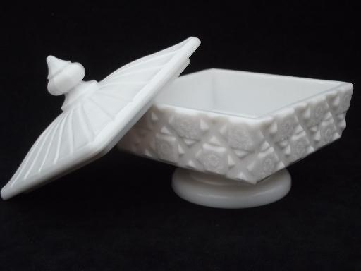 Old Quilt Pattern Milk Glass Candy Dish Unmarked Vintage Westmoreland