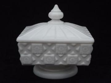 old quilt pattern milk glass candy dish, unmarked vintage Westmoreland