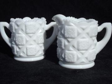 old quilt vintage Westmoreland milk glass cream pitcher and sugar set