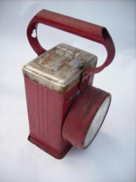 old red Burgess portable lantern flashlight, Freeport, IL