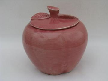 old red apple, vintage pottery cookie jar, unknown maker
