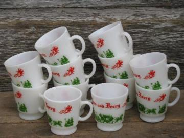 old red & green Christmas Tom & Jerry punch cups, vintage Hazel Atlas glass