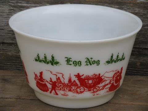 old red & green Christmas eggnog punch cups & bowl ...