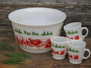old red & green Christmas eggnog punch cups & bowl, vintage milk glass
