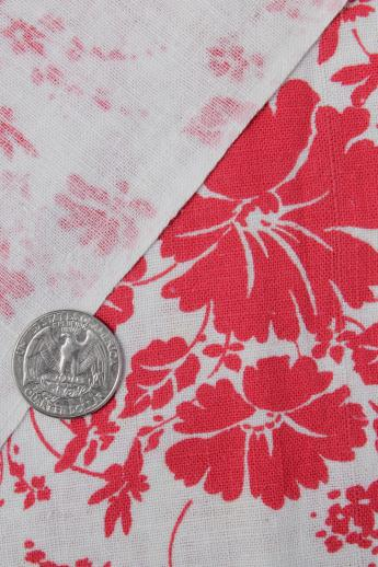 old red & white print cotton feed sack, authentic vintage fabric for quilting etc.