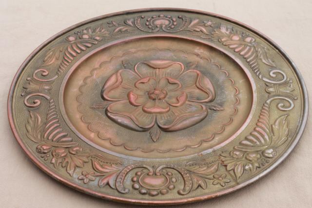 Old Rose Medallion Round Ceiling Rose Embossed Brass Tray