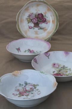 old rose pattern vintage china serving bowls, roses floral antique china