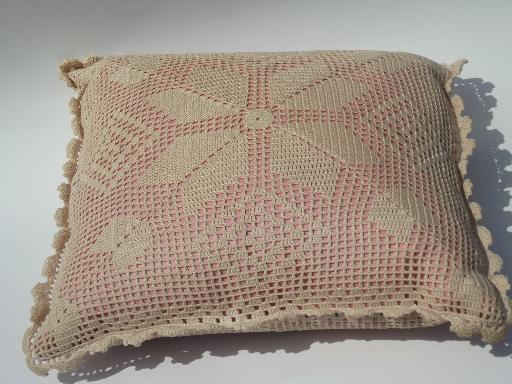 Old Rose Pink Pillow W Ecru Cotton Lace Crochet Shabby
