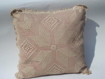 old rose pink pillow w/ ecru cotton lace crochet, shabby chic vintage