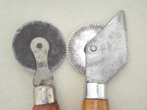 old rotary cutting blade wheels, vintage wallpaper paper hanger tools