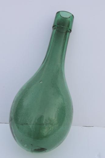 Old round bottom bottle vintage green glass wine bottle for Green glass wine bottles