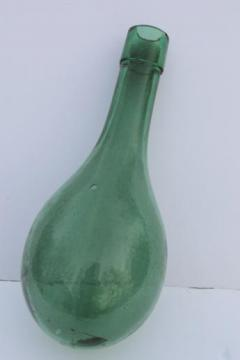 old round bottom bottle, vintage green glass wine bottle or water bottle?