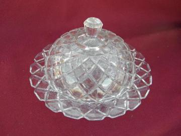 old round glass dome butter dish, vintage waffle pattern cover and plate