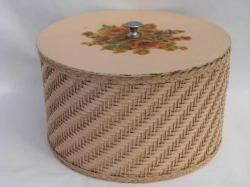 old round pink wicker sewing basket w/ vintage flower decals