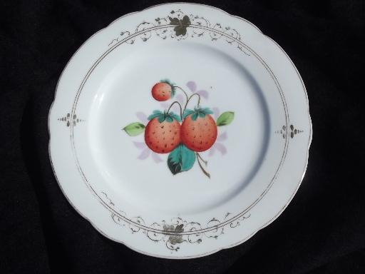 old russet apples and strawberries, set of 4 antique china fruit plates