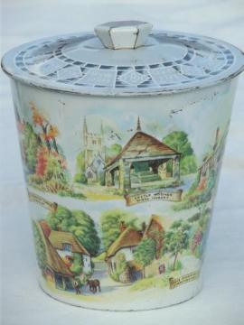 old scenes of England biscuit tin bucket, vintage metal cookie canister