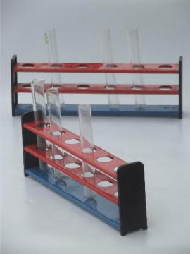 old school test tube racks, metal labware stands for chemistry vials