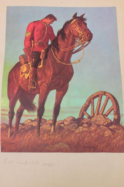 old scrapbook of vintage art illustrations pictures, Mounties RCMP Royal Canadian Mounted Police