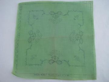 old sheer cotton pillow cover to embroider, jade green