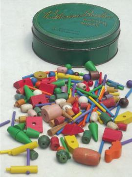 old small wood toys, game pieces, beads, lot for crafts or altered art