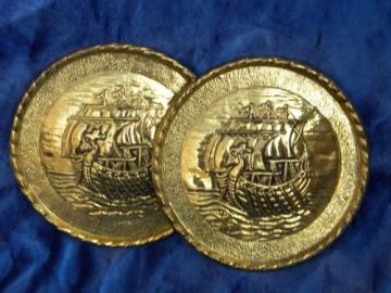 old solid brass Dawn Treader vintage, dragon ship wall medallions - England