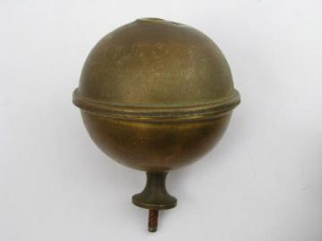old solid brass architectural ball finial, antique bed knob