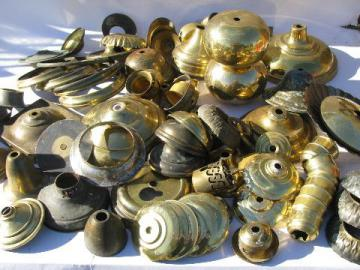 old solid brass lamp parts lot, vintage chandelier light restoration pieces etc.