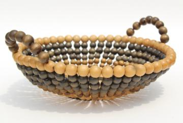old souvenir of Niagara Falls, arts & crafts vintage wood beaded basket, strung wooden beads bowl