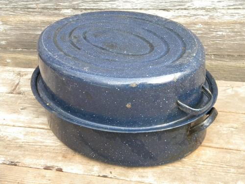 old speckled graniteware roaster for garden shed potting bench pans